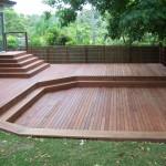 Large back yard merbau deck