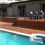 Pool deck with glass rails